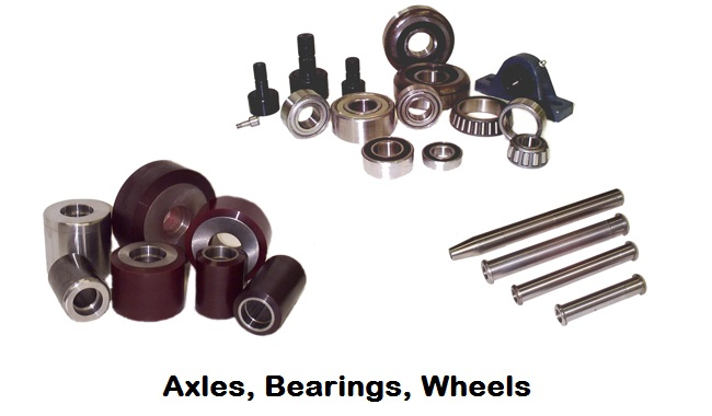 axles, bearings, wheels
